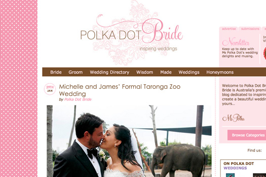 Feature on Polka Dot Bride, Michelle and James wedding